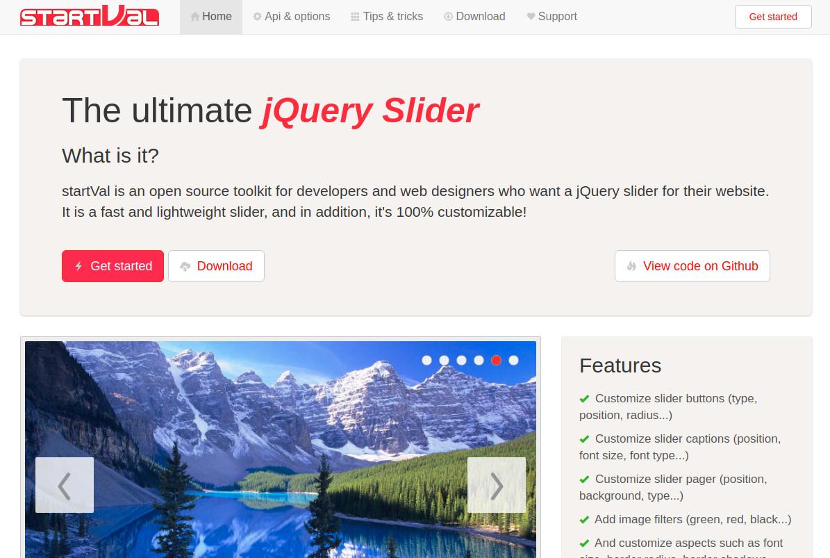 startVal - jQuery Slider Plugin